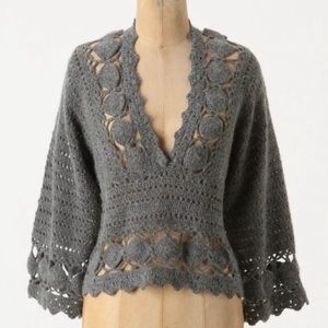 Anthro {Knitted & K} Grey Open Knit Sweater (L)